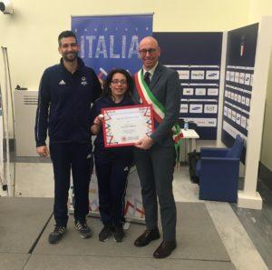 Veronica Rossi, il Sindaco Presciutti e il direttore Special Olympics Umbria Fabio Casali