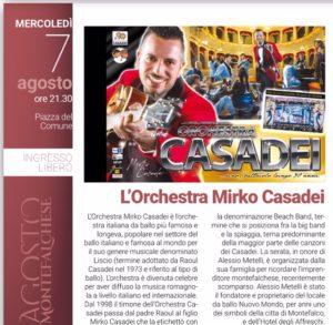 Agosto Montefalchese-orchestra di Mirko Casadei-locandina