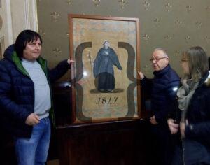 La tela donata nel 2016 da Marilena Brunetti al Comune di Monticiano